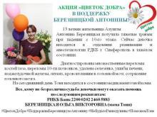 """Акция """"Цветок добра"""" в поддержку Березницкой Антонины"""